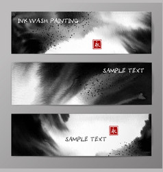 banners with abstract black ink wash painting vector image
