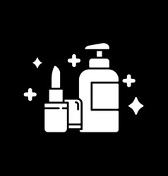 Beauty and personal care dark mode glyph icon vector