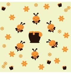 Bees around a honeypot vector image