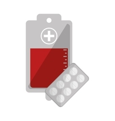 Blood bag and medicine tablets icon vector