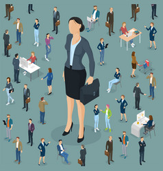 Businesswoman big boss leader office vector