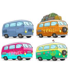 Cartoon colorful retro van bus with peace sign vector