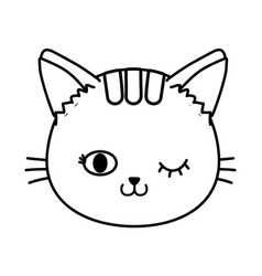 cat face wink eye black and white vector image