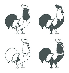 Chicken design elements isolated on white vector