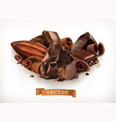 Chocolate bars and pieces shavings cocoa fruit 3d vector
