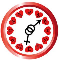 clock zodiac signs horoscope love vector image