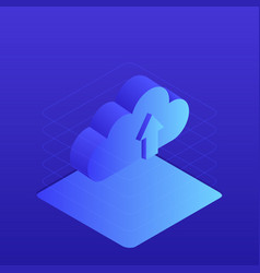 cloud storage 3d isometric flat design vector image