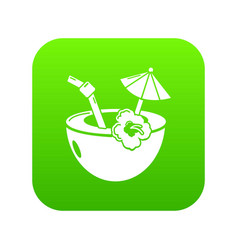coconut cocktail icon green vector image