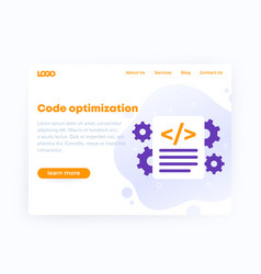 Code optimization website template design vector