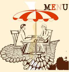 Coffee poster with cafe table coffee young couple vector