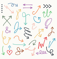 Colorful curvy and odd shape direction arrow set vector