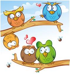 comic owl group cartoon on tree vector image