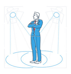 Confident businessman - line design style isolated vector