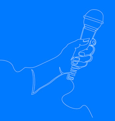continuous line hand holding wired microphone vector image