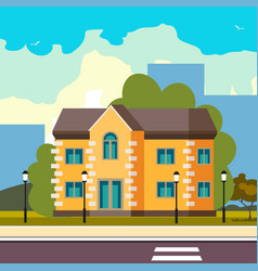 cool detailed house icon on street vector image