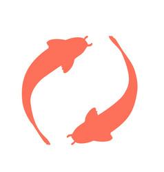 coral koi fish logo vector image