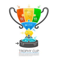 cup winner with icons puzzle vector image