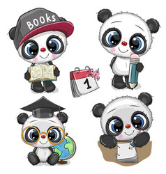 cute cartoon pandas isolated on a white background vector image