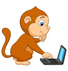 Cute monkey playing computer vector image