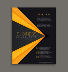 dark brochure design with yellow stripe vector image