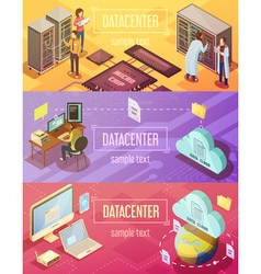 Datacenter Isometric Banners Set vector