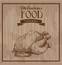delicious food chicken hand drawn poster vintage vector image