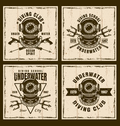 diving set of four brown vintage emblems vector image