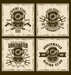 Diving set of four brown vintage emblems vector