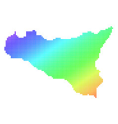 dotted pixel spectrum sicilia map vector image