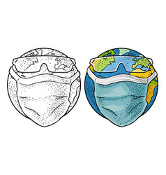 earth planet dressed medical face mask and glasses vector image