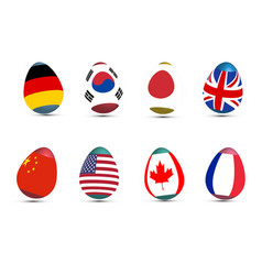 easter eggs decorated with a international flag vector image