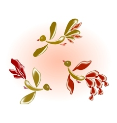 Fairy glass birds and flowers EPS10 vector image