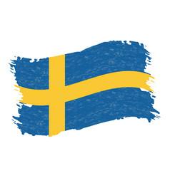 flag of sweden grunge abstract brush stroke vector image