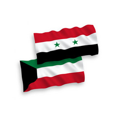 Flags kuwait and syria on a white background vector