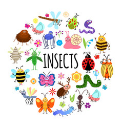 flat funny insects round concept vector image