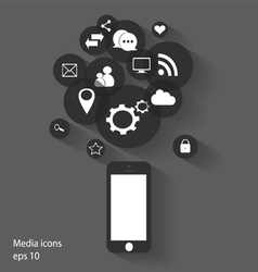 flat mobile phone with social media icons vector image