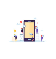 flat people characters building mobile application vector image