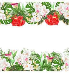 Floral seamless background bouquet tropical vector