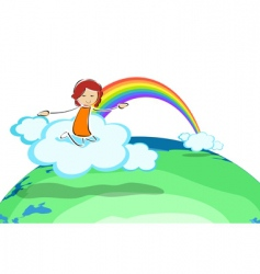 girl on cloud with rainbow vector image