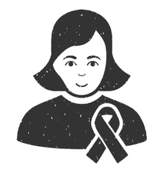 Girl With Sympathy Ribbon Grainy Texture Icon vector
