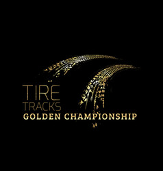 golden tire tracks on dark background vector image