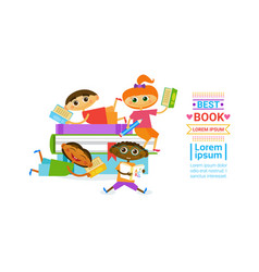 Group kids with books reading cute children vector