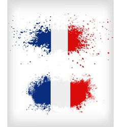 Grunge french ink splattered flag vector image