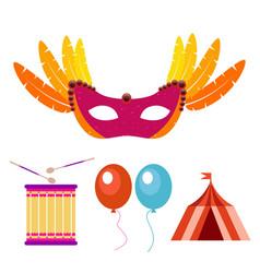 happy brazilian carnival day carnival mask drum vector image
