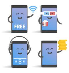 Happy cartoon smart phone character set great for vector