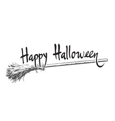 happy halloween hand drawn lettering and old magic vector image