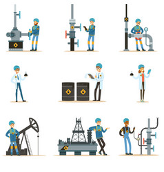 Happy people working in oil industry set of vector