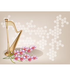 Harp Orchid Brown Background vector