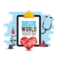 Heartbeat and pills to world health day vector