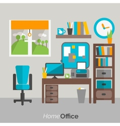Home office furniture icon poster vector